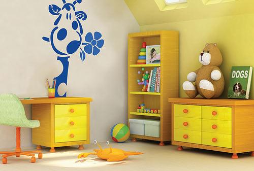 Детская комната в желтом цвете и оранжевом