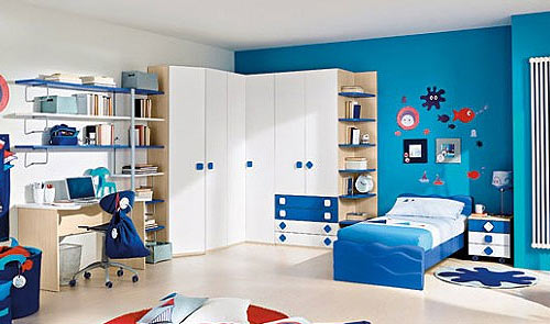 Синий и голубой цвет детской комнаты