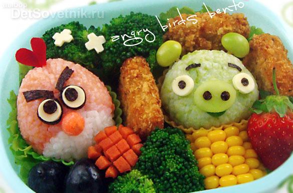Как украсить еду для детей. Angry birds