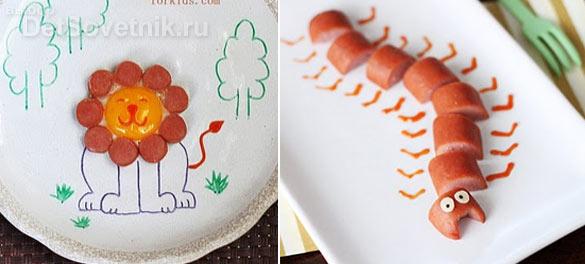 Как украсить еду для детей.  Фигурки из сосисок